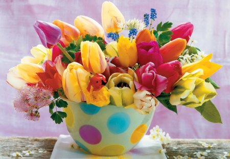 Beautiful flowers - flowers, spring, beautiful, pretty, romantic, harmony, room, nice, love, delicate, summer, colorful, lovely, tulips, vase, table, fresh, still life, romance