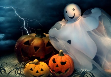 Happy Halloween Ghost - halloween, cute, happy, lightning, jack o lanterns, spiders, ghost, whimsical, pumpkins