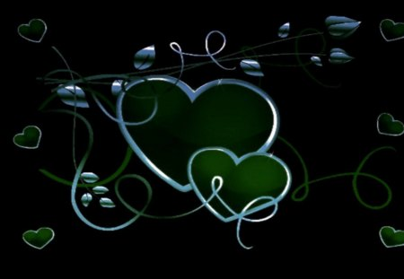 Emerald Hearts - emerald and silver hearts, a touch of green, emeralda, green hearts