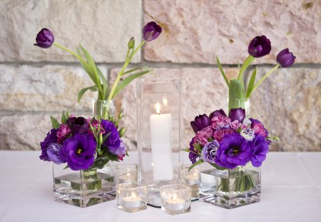 Light of my Purple Dreams♥ - friendship, burning, square vase, forever, purple, tall, fresh flower posy, white, love, entertainment, arrangement, candles, anna and lui, tulips, preecious, special, table, light, sisterhood