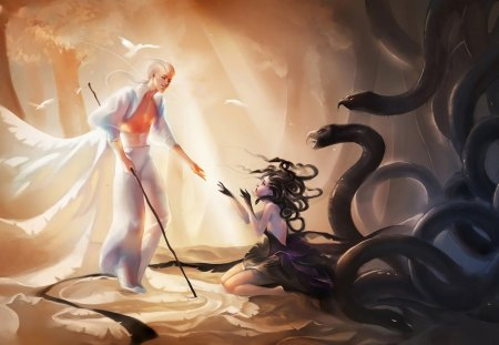 Queen of Snakes and White Wizard - boy, halloween, black, realm, animal, girl, man, snake, light, woman, wizard, white, queen, fantasy