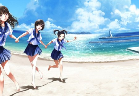Beach girls other anime background wallpapers on - Beach anime girl ...