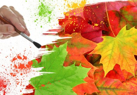 Painting Autumn Colors - green, orange, hand, colorful, colors, fall, autumn, paintbrush, paint, leaves, oak, whimsical, maple, gold, splatter