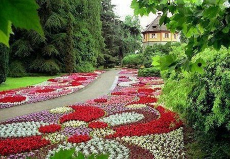 Floral Garden Path Flowers Nature Background Wallpapers on