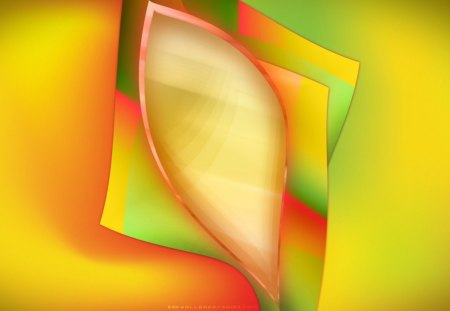 Glowing Bud - layers, green, glow, pink, abstract, smooth, yellow, shiny
