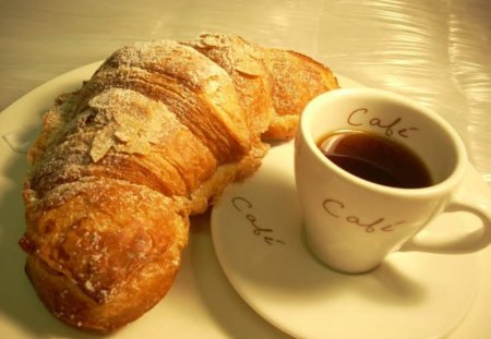 Breakfast, Anyone? - coffee, table, cup, croissant
