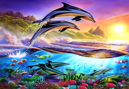 Dolphins' Paradise - fish, painting, underwater, chesterman, paradise, coral, dolphin, sunset, sea, adrian, ocean