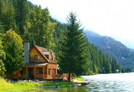 Lake house lakes nature background wallpapers on for Lakeview cabin download