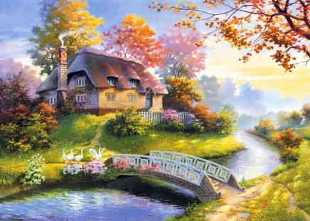 Countryside beauty - beautiful, river, reflection, pretty, sun rays, beauty, fall, autumn, cottage, falling, nice, house, calm, grass, creek, summer, countryside, place, trees, colorful, lovely, sunlight, leaves, village, bridge, gloe, cabin, nature, peaceful, stream, shine
