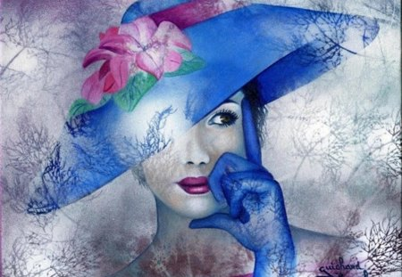 Art - painted, flower, italian impressionism, gloves, woman, hat, blue, beautifully