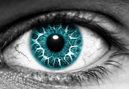 Eye - black, white, abstract, blue, eye