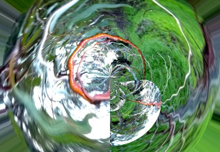 Kinky sphere - green, roots, earth, kinky, abstract, art, sphere