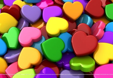 Multi-colored Hearts - colorful, hearts, nice, shaped