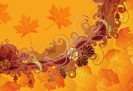 Fall Abstraction - flowers, orange, abstract, fall, autumn, leaves, swirls, maple, gold