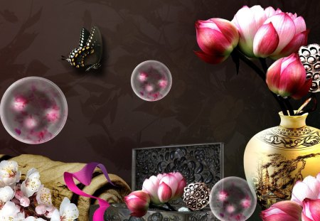 Oriental Elegance - flowers, fleurs, pappilon, cherry blossoms, peonies, vase, butterfly, oriental, japanese, bubbles, chinese, bamboo, box, sakura
