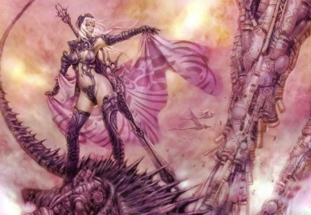Lady In Pink - warrior, woman, sword, birds, machine