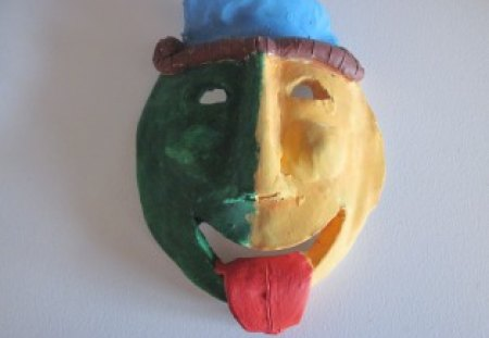 Colorful clay mask - green, mask, blue, brown, red, yellow