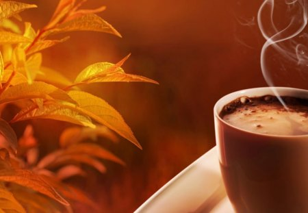Hot Chocolate On An Autumn Day~Perfect! - leaves, still life, cup, hot chocolate, Fall, steam, autumn
