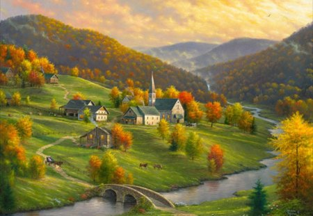 peace in the valley - cottages, valley, horses, grass, mountain, a stone bridge, autumn, beauty