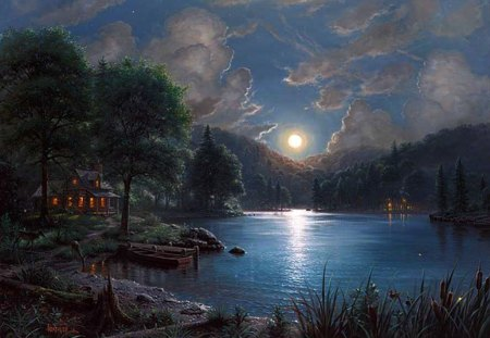 Moonlight Sonata - landscape, clouds, moon, sky, painting