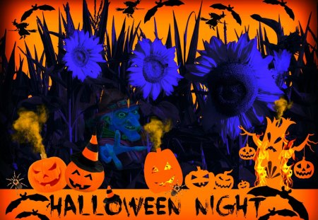 ♥     ♦♣♠ Halloween Night ♠♣♦     ♥ - halloween night, halloween, bats, tree, jack-o-lantern, smoke, witches, sunflowers, scary, fire, haunted, pumpkins