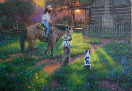 mothers work is never done - dog, morning, horse, mother, idyllic scene, child