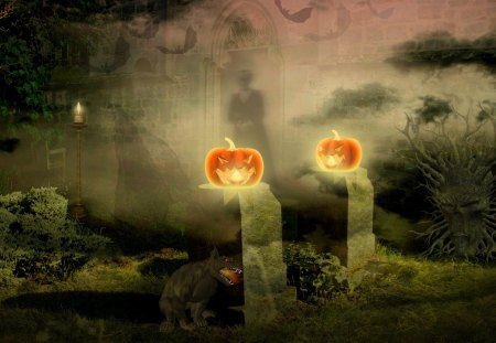 ♥     Haunted Place     ♥ - moon, creepy, night, bats, haunted, halloween, spooky, candles, darkness, monster, jack-o-lantern