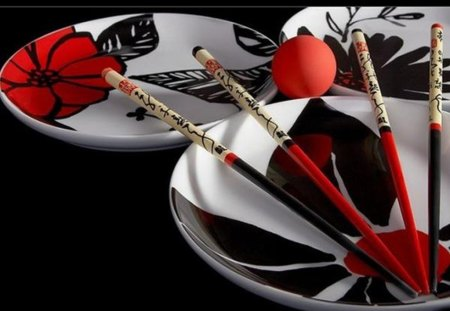 still life in black and red - wooden chopsticks, still life, black, white, red, plates