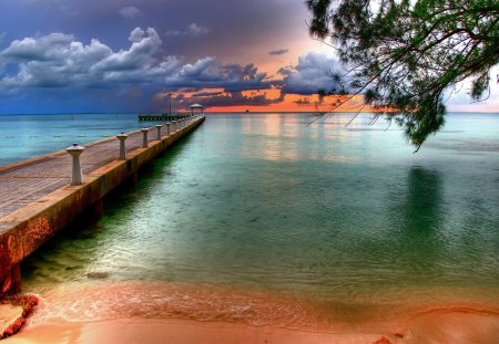 Rum Point on the Cayman Island - dock, cayman island, beach, pier, rum point, hdr