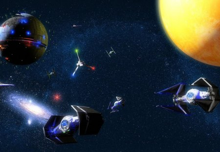 star wars - galaxy, shuttle tydirium, death star, star destroyers, planet, tie fighters, stars