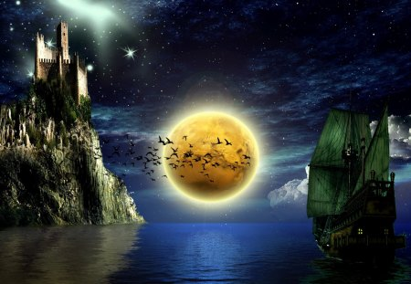 fantasy art - clouds, moon, ship, cliffs, sea, castle, stars