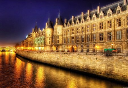 marvelous building on a paris river at night hdr - building, bridge, river, lights, hdr
