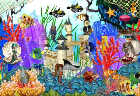 Undersea Fantasy - fantasy, magic, castle, sea turtle, reef, undersea, swimming, mermaid, nautical, coral, ocean, stingray, water, fish, fun