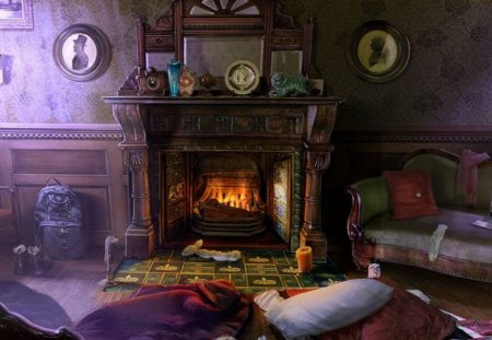 Cozy Winter Evening - country, fireplace, home, kid safe