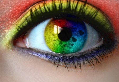 Rainbow Eye - makeup, woman, colors, eye, rainbow