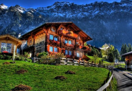 Swiss Mountain House swiss chalet - houses & architecture background wallpapers on