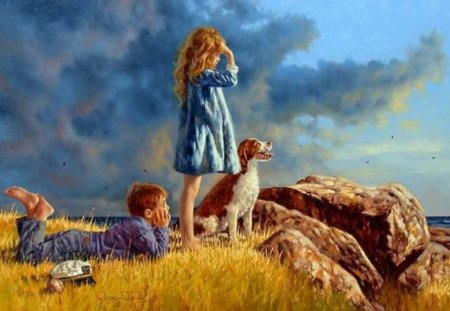 Painting - dog, girl, boy, stone, painting, art