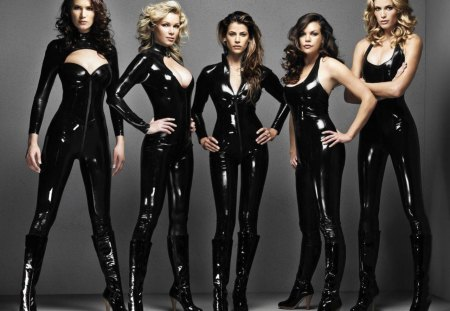 girls posing in latex - latex, girls, posing