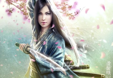 Mirumoto Kei - girl, warrior, beuty, japan, sword, fantasy