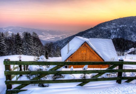 Winter - snowfall, wonderful winter, winter forest, winter house, winter cabin, snow, white winter, winter, blue winter, snowy, blue winter evening