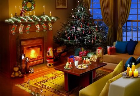 Christmas eve 3d and cg abstract background wallpapers for Tree wallpaper living room