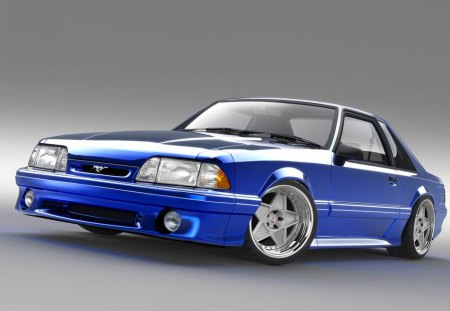 Fox-Body - blue, wheels, mustang, ford