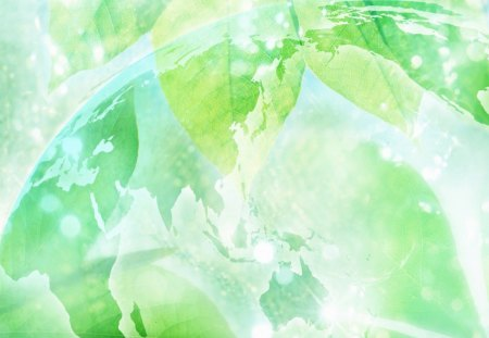 Transparent Globe and green leaves - Other & Nature Background ...