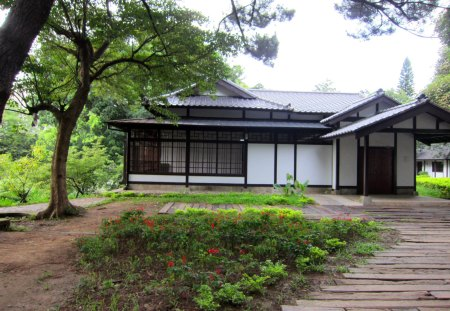 Japanese Style House Grass Nature Background Wallpapers On
