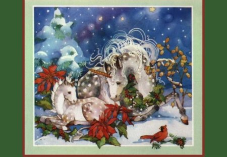 Unicorn Christmas - unicorn, trees, snow, christmas, fantasy, birds, stars