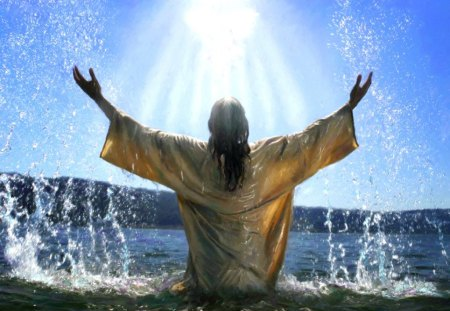Jesus calling God - water, christian, rising, sunbeam, religious, jesus