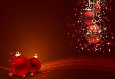 RED CHRISTMAS ORNAMENTS - Other & Abstract Background Wallpapers ...