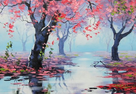 Painting - artsaus, art, drawing, spring bossom reflections