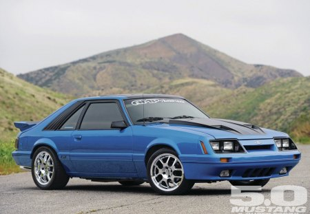 1986 Ford Mustang GT - ford, chrome wheels, blue, mustang