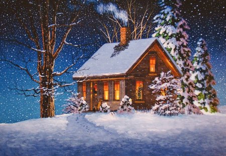 Winter house - Other & Abstract Background Wallpapers on ...